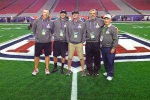 (L to R) Tim Johnston, Adam Jones, Andy Levy, Bob Schindler and George Toma get the field ready for Super Bowl XLIX.