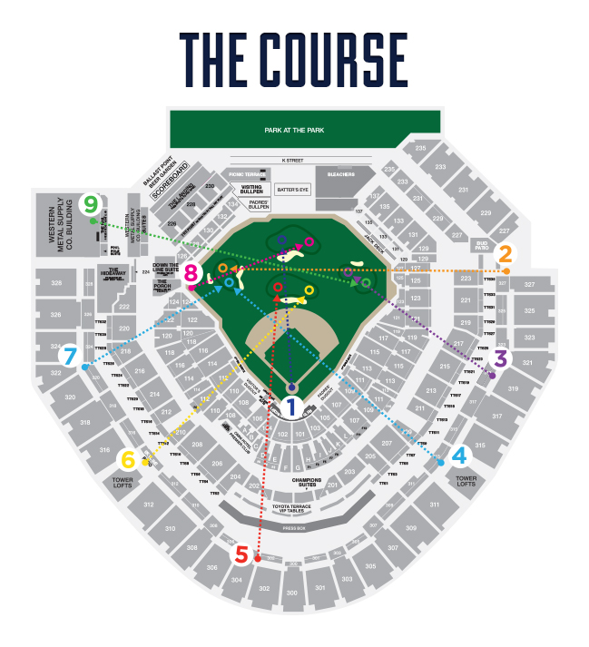The tee boxes and pin locations for the 9-hole Links at Petco Park. Photo courtesy: San Diego Padres.