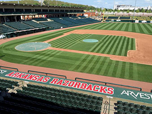 Last year's winner was Blake Anderson, Director of Sports Turf Operations at the University of Arkansas. Anderson won with his intricate design he produced at Baum Stadium.