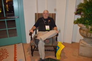 Steve Dugas, CSFM at the University of Southern California, Los Angeles, takes a load off at the end of a long day of hitting the exhibition room floor.